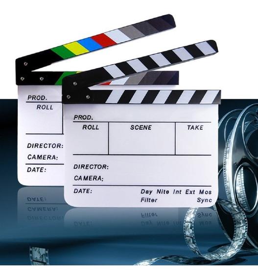 Claquete De Cinema Profissional Acrílico Com Imã 30x24,5 Cm