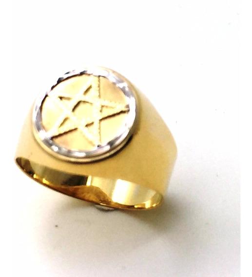Anel Ouro 18k Pentagrama Estrela Cinco Pontas Maçonaria