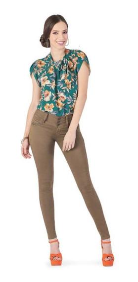 Jeans Dama Pantalón Mezclilla Skinny Push Up - Café + Envió