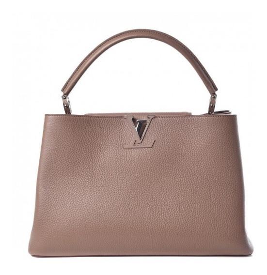Capucines Bege Couro Legítimo Louis Vuitton Premium Top C/ Código Série Acompanha Dust Bag Envio Imediato