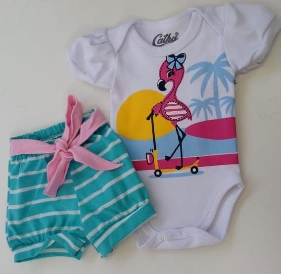 Conj. Body Flamingo Shorts Suedine Bebê Menina
