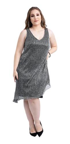Vestido Corto Dama Jersey Con Capa De Lurex Fiesta Mujer