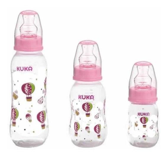 Kit Com 3 Mamadeiras Rosa Bebê Com Bico Ortodôntico- Kuka