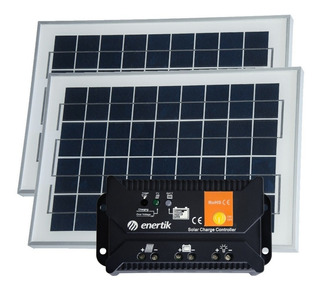 Oferta Pack X 2 Panel Solar 10w + Regulador Solar - Cuotas