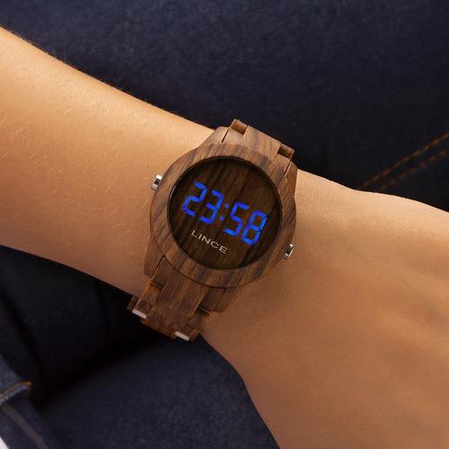 Relógio Feminino Lince Digital Amadeirado Mdp4616p