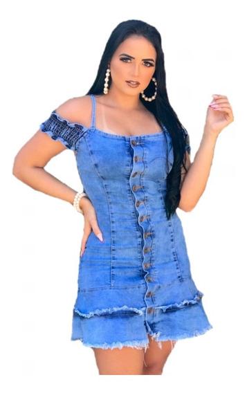 Vestido Jeans Com Lycra Feminino Curto Moda Casual Vjl04