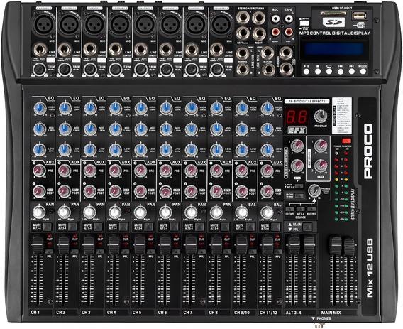 Proco Mix 12usb Consola Mixer 12 Canales Mp3
