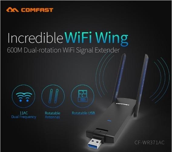 Adaptador Repetidor Usb Wireless Dual Band 5,8 Ghz Antenas