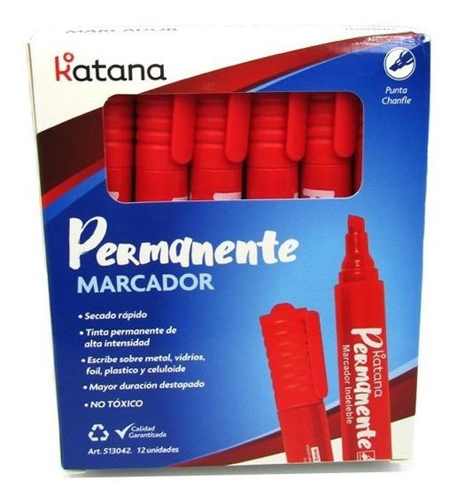 Pack Marcador Permanente Katana 5mm Punta Chanfe X12 Unidad