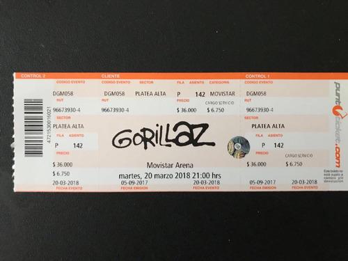 3 Entradas Concierto Gorillaz 20 Marzo