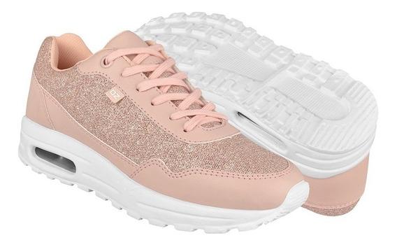 Tenis Capa De Ozono Para Mujer Glitter Rosa 334505-4
