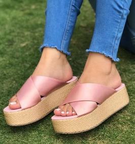 Sandalia De Plataforma Plana Rosa Moda Con Estilo.