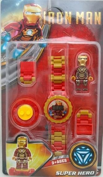 Relógio Homem De Ferro Infantil Digital + Boneco C Lego