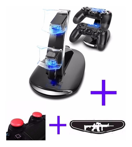 Base Cargadora X2 Joystick Ps4 Luz Led Ps4 + Grips Sticks