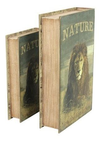 Porta Livro Objetos Book Box Leão Conjunto 2 Unidades