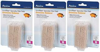 (3 Pack) Aqueon Pad Quiet Flow 10 Amoníaco Filtro Reducir Es