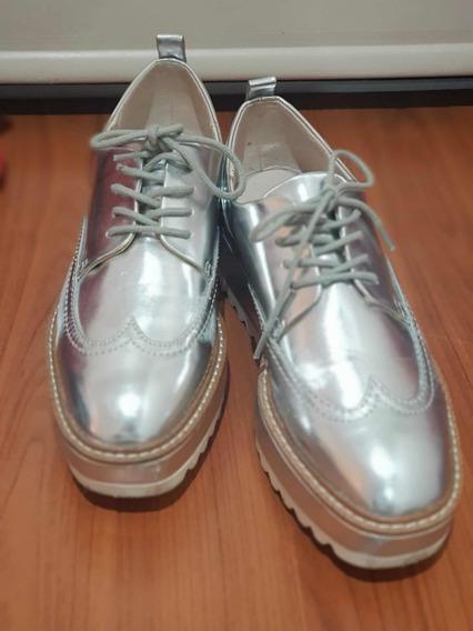 Zapato Acordonado Zara Talle 36 Plateado