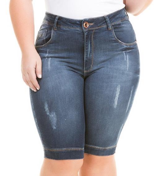 Bermuda Jeans Com Lycra Plus Size Moda Grande Gorda Bdj142