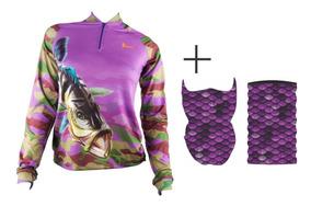 Kit 01 Camisa De Pesca 01 Tube Neks (mascara) 01 Boné Kaapuã