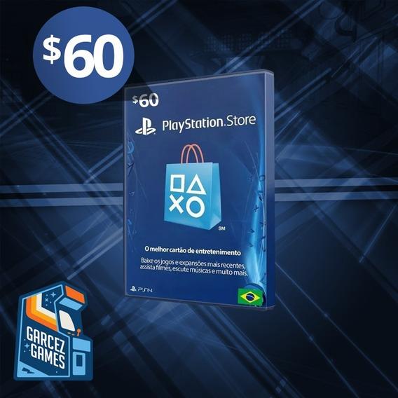 Cartão Psn $60 Dólares Usa Ps3 Ps4 Psn Card 60 Americana