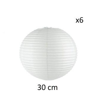 Lámparas Chinas Pantallas De Papel 6 De 30cm Para Decoracion