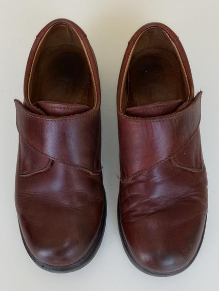 Zapatos Cuero Marrón Escolar Fb Talle 35 Abrojos Varón Niño