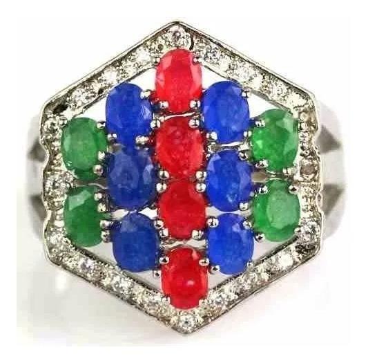 Anel Prata 925 Pedras Quartzos Rubi Esmeralda Safira