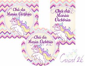 Kit 60 Adesivos Personalizado Unicornio Lembrancinhas