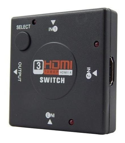 Adaptador Switch Hdmi Divisor 3 Portas Tv Notebook Videogame