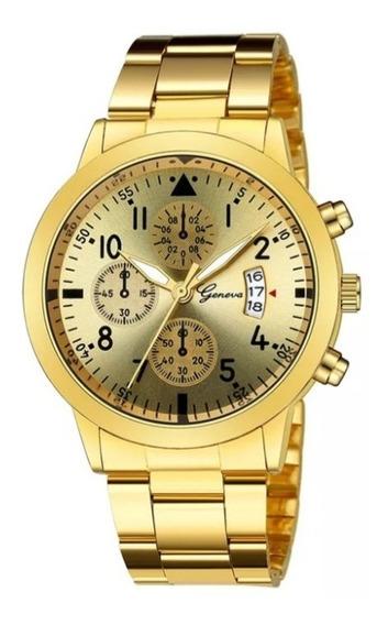 Kit 4 Relógio Quartzo Geneva Masculino Com Data