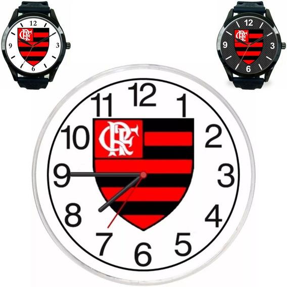 Kit 3 Relógios Torcedor Flamenguista Pulso E Parede Barato