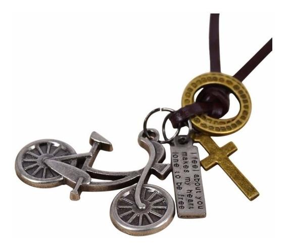 Cordão De Couro Masculino Preto Pingente Bicicleta Vintage