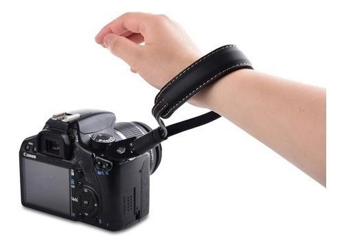 Alça De Pulso Em Couro Nikon Canon Sony Hand Strap Preto