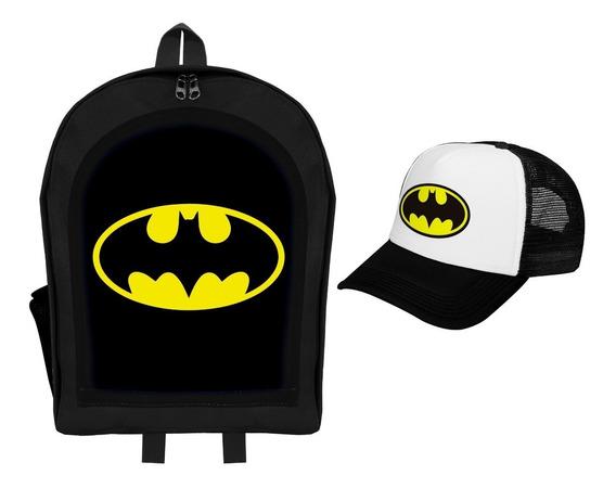 Combo Mochila Infantil + Gorra Trucker Premium Batman