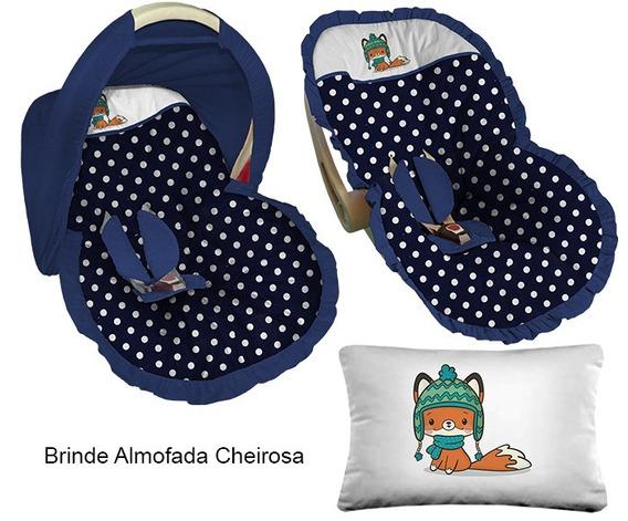 Capa Para Bebê Conforto Capota Poá Azul Raposa Com Gorro