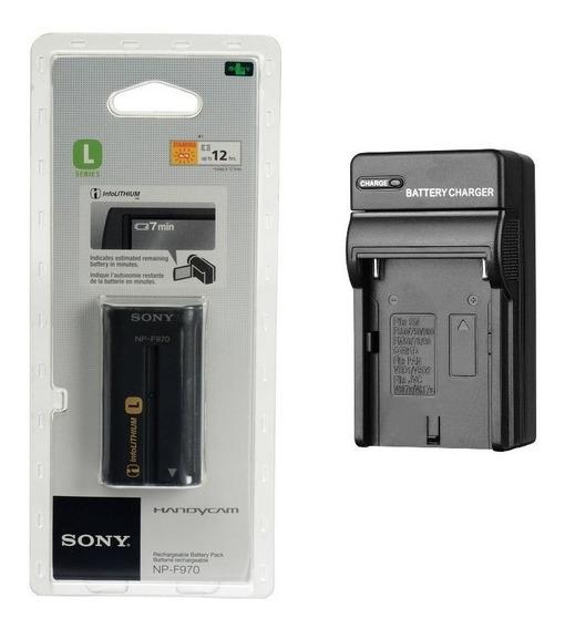 Kit Bateria Sony Np-f970 + Recarregador P/ Iluminador De Led
