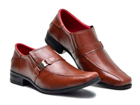 Sapato Social Masculino Couro Legítimo Whisky Sem Cadarço