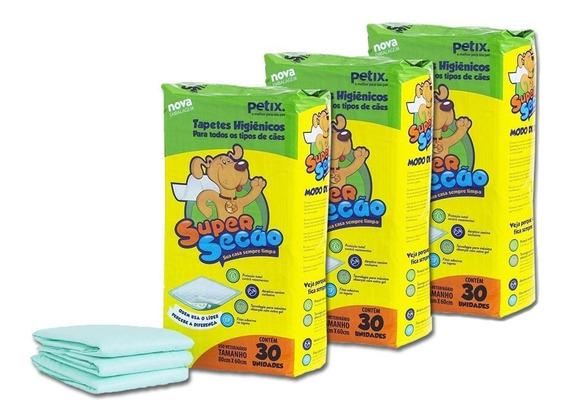 Combo 3 Tapetes Higiênicos Para Cachorro Super Secão 90 Un