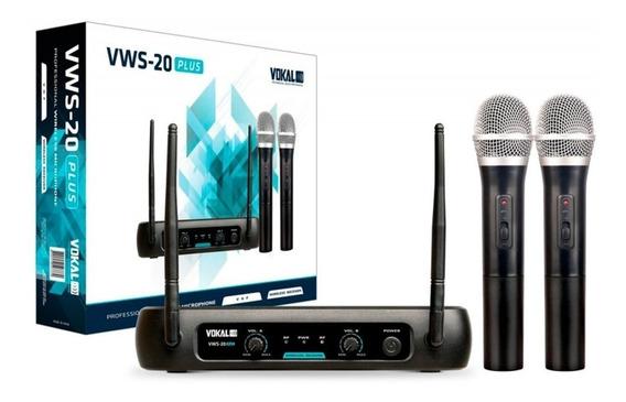 Microfone Sem Fio Vokal Vws-20 Plus Duplo Vhf - Sound Store