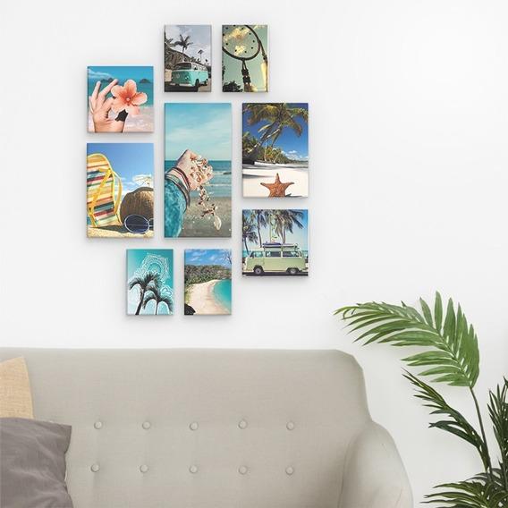 Conjunto Kit 9 Placas Quadros Decorativo Praia Sol Mar Areia