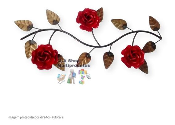 Enfeite De Parede Em Ferro Galho Flor Rústico Decoração Arte