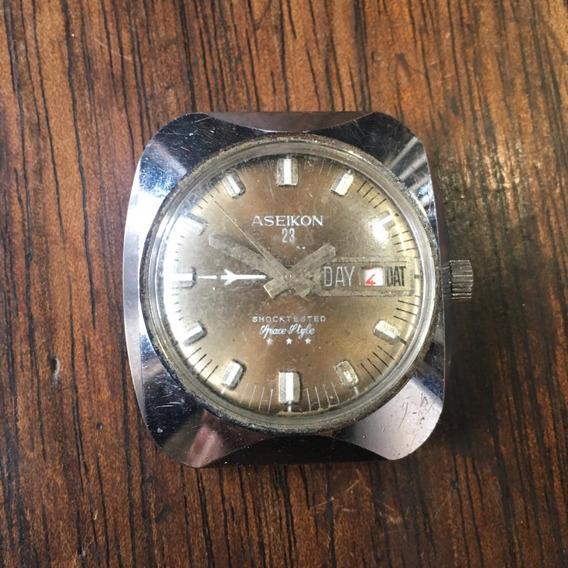Relógio Aseikon De Pulso Antigo A Corda Com Calendário 019