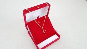 Cordão Corrente Masculino 3x1 60cm Em Ouro 18k 750 Crucifixo