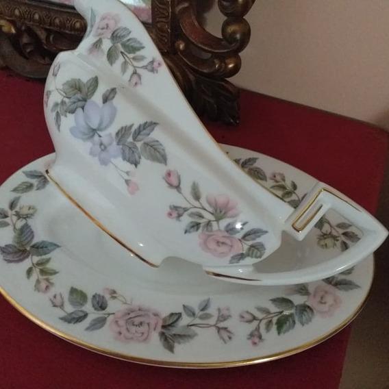Salsera Y Fuente De Apoyo Porcelana Inglesa Royal Worcester