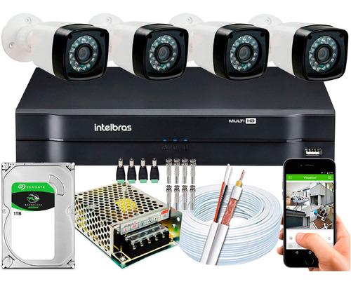 Kit 4 Cameras Segurança 1080p Full Hd Dvr Intelbras 8 Canais