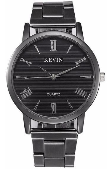 Reloj Acero Negro Marca Kevin Hombre Moda Caballero B157