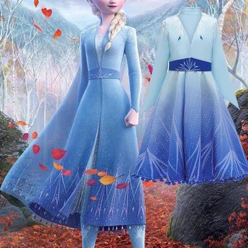 Vestido De Niña Para Fiesta Frozen 2 Elsa Azul