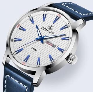 Reloj Hombre Benyar 5145 Pb Deportivo Cuero Caja P/regalo