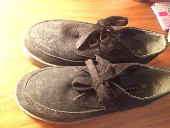 Zapatos Acordonados De Gamuza Con Plataforma Baja