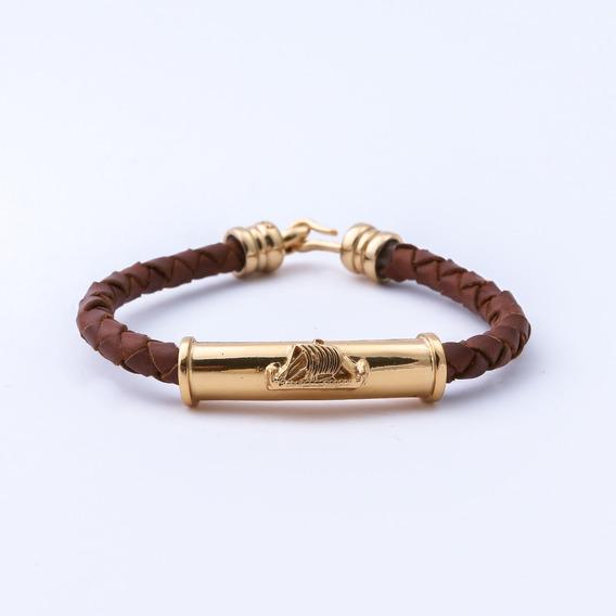 Brazalete Argos Piel Trenzada Vikingo Chapa Oro Caballero